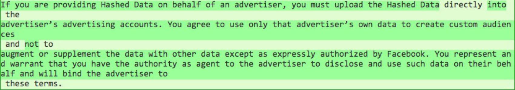 Facebook terms on data collection via Diffchecker