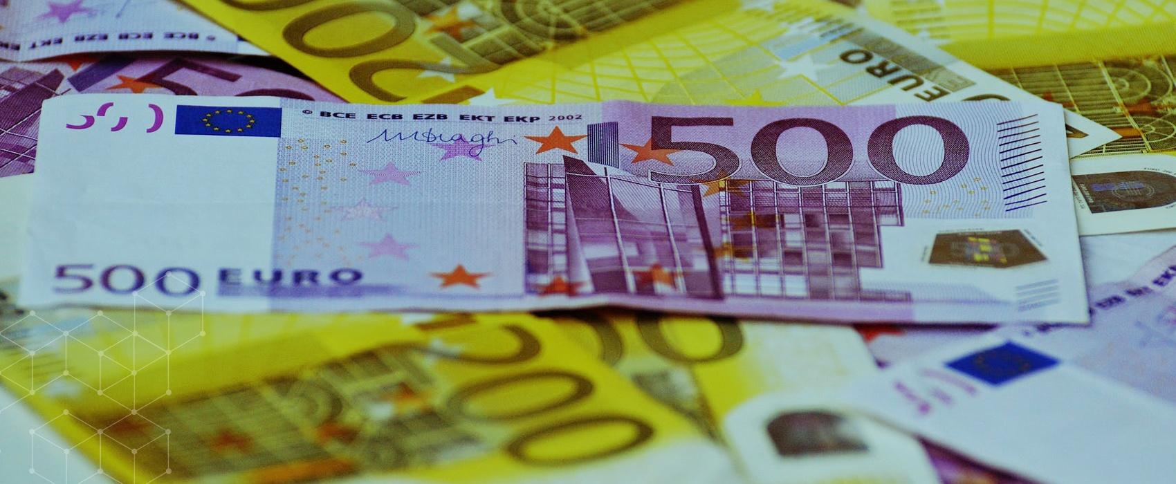 Pile of Euro bills
