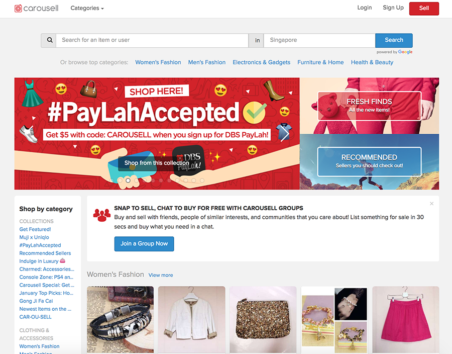 Carousell is a popular Singapore marketplace