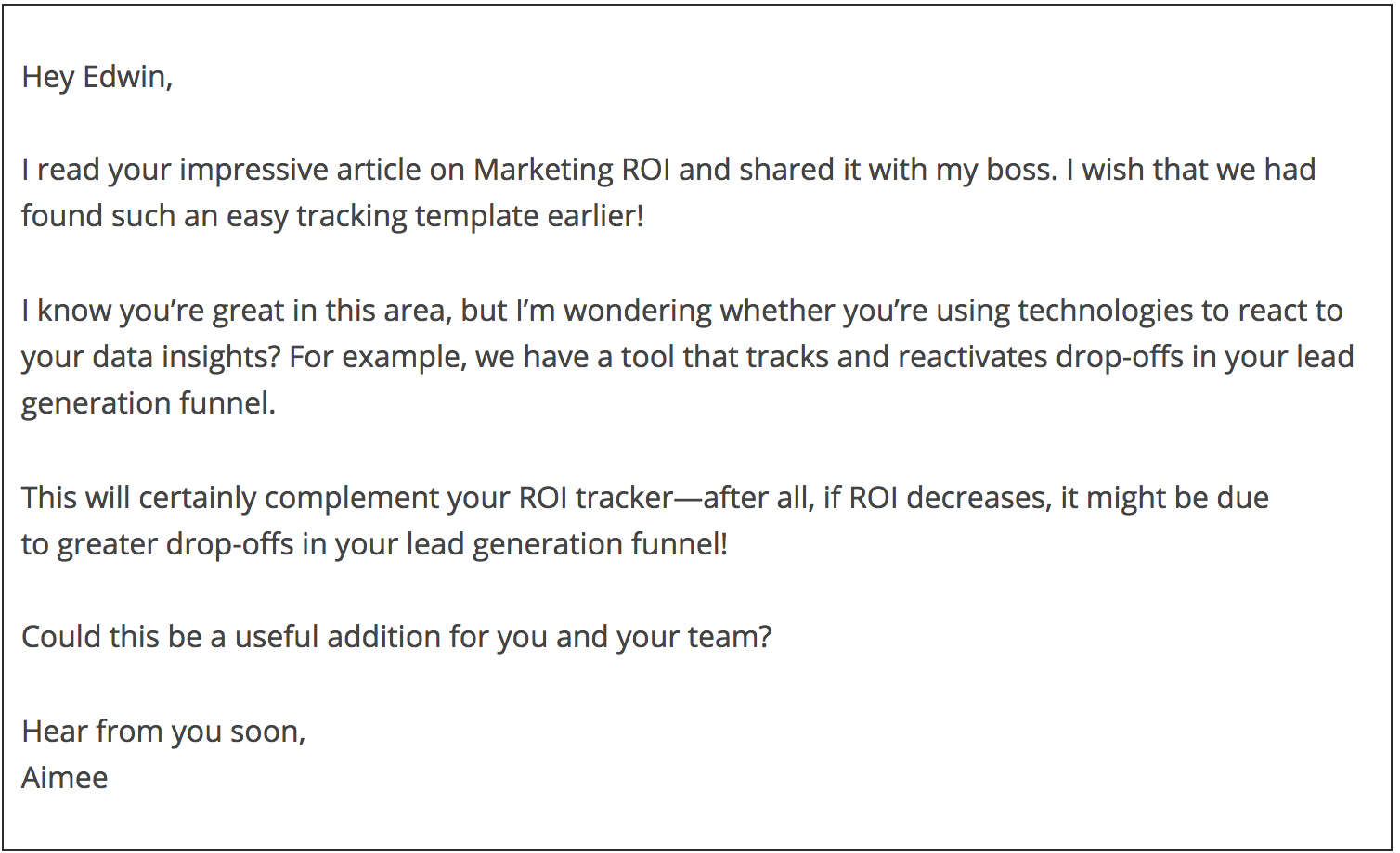 sample B2B email
