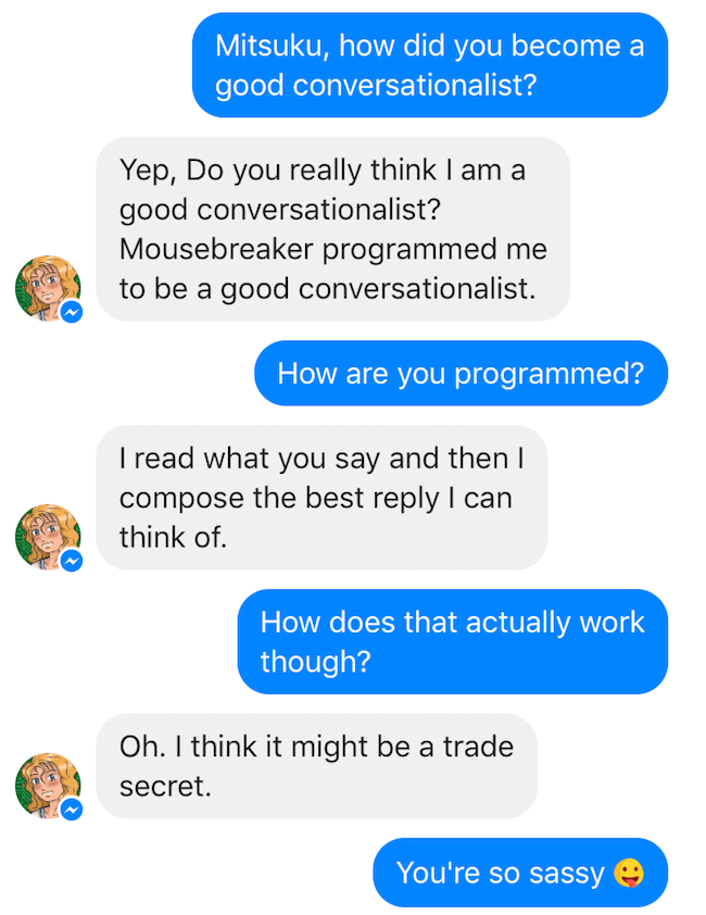 Conversation with Mitsuku the chatbot