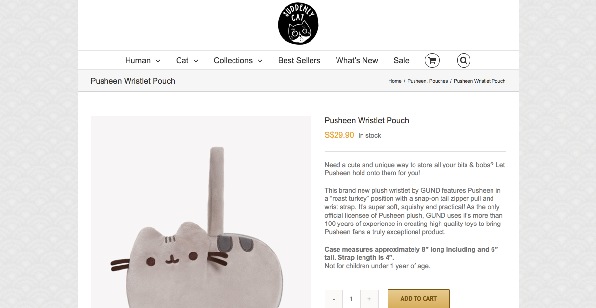 Product description for item in SuddenlyCat store