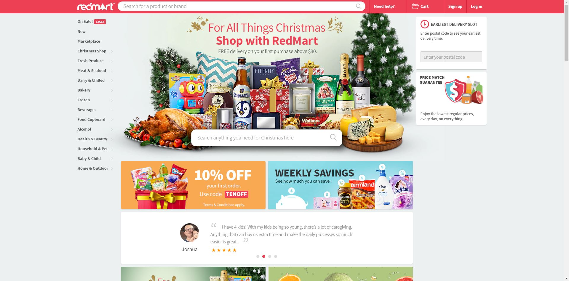 Redmart homepage