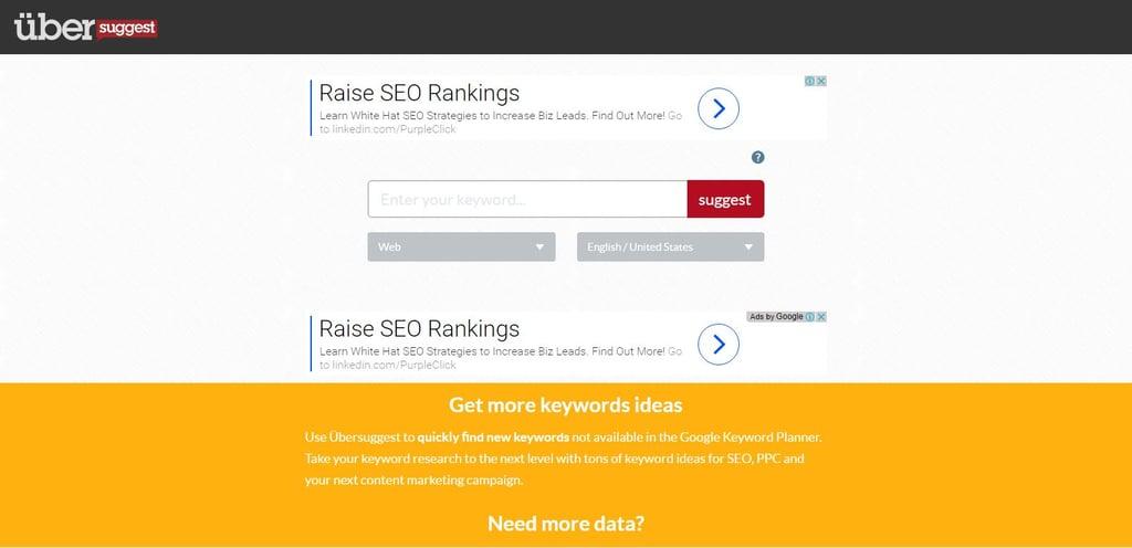 UberSuggest for brainstorming keyword ideas