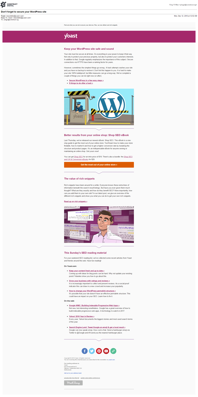 Example of Yoast SEO email newsletter