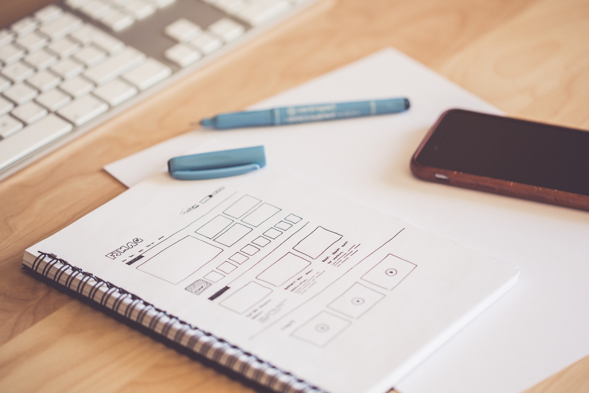 Website design mockup on paper