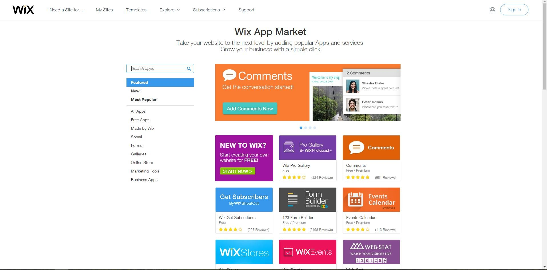 Wix app market