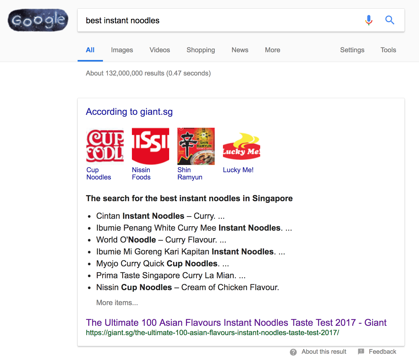 "Google search results for ""best instant noodles"""
