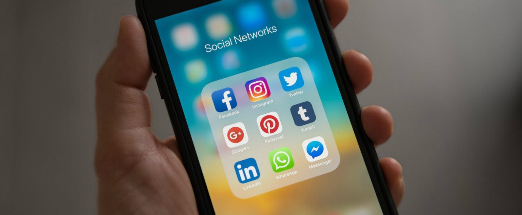social media apps on phone display