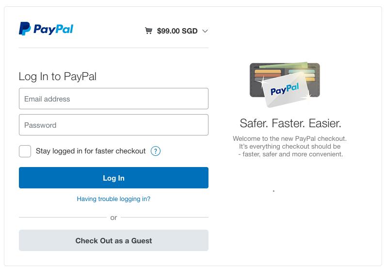Paypal Express Step 1 - Login