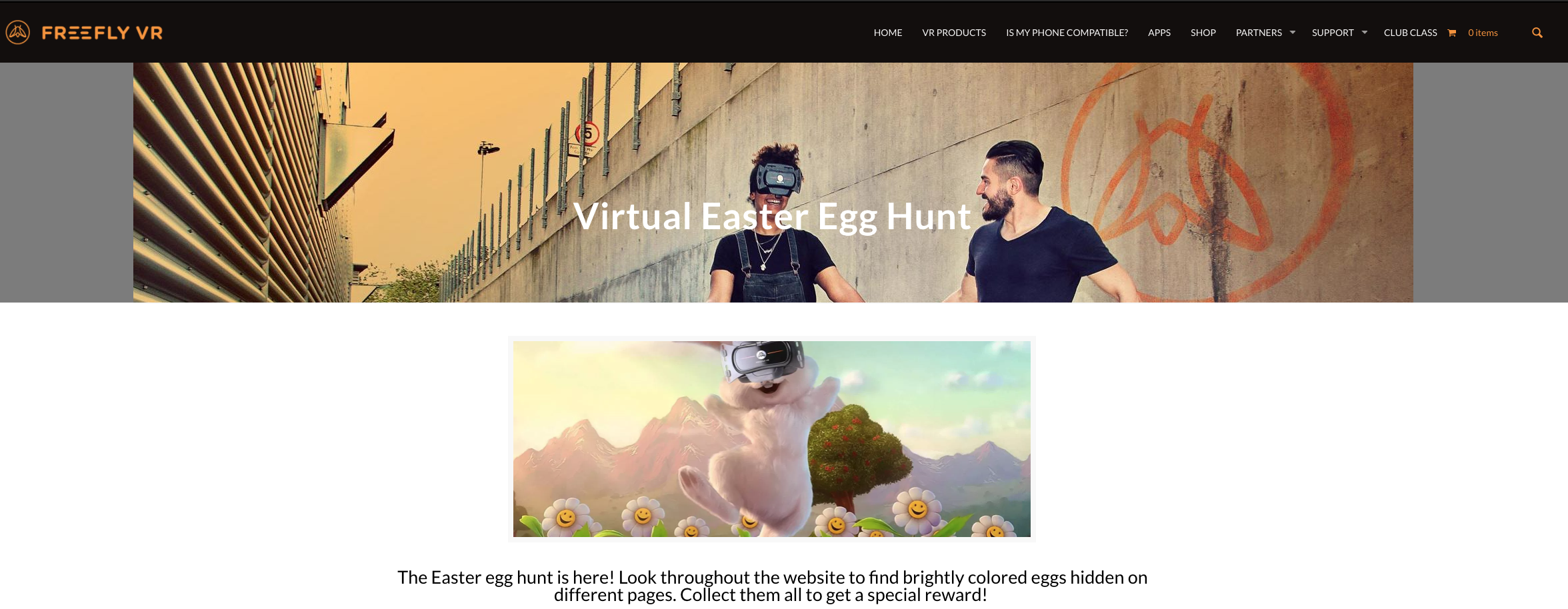 FreeflyVR Easter egg hunt on website
